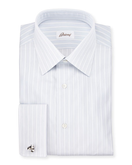 Satin-Stripe French-Cuff Dress Shirt, White