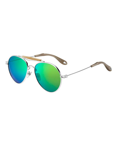Metal Mirrored Aviator Sunglasses