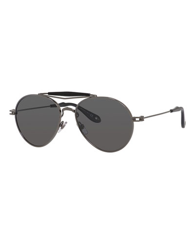 Metal Polarized Aviator Sunglasses, Grey