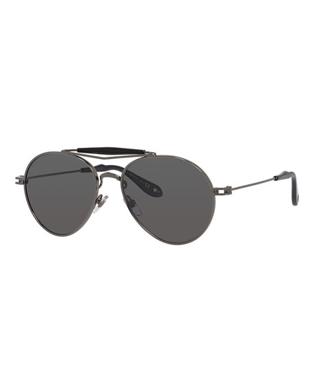 polarized mirrored aviator sunglasses 28wk  Givenchy Metal Polarized Aviator Sunglasses, Grey