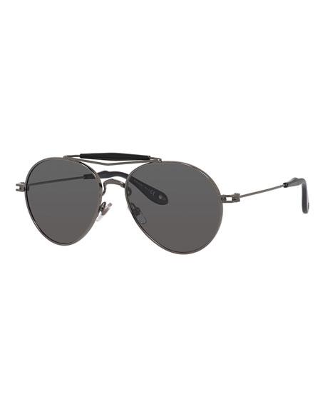 Givenchy Metal Polarized Aviator Sunglasses, Grey