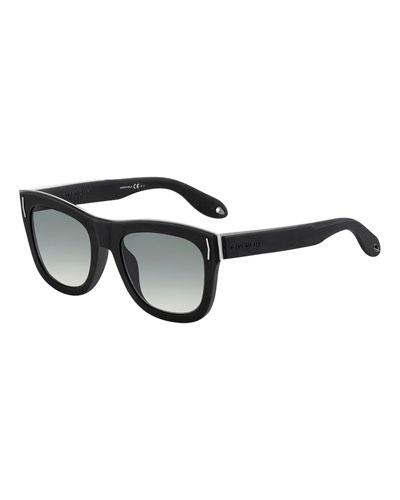 Metal & Rubber Square Sunglasses