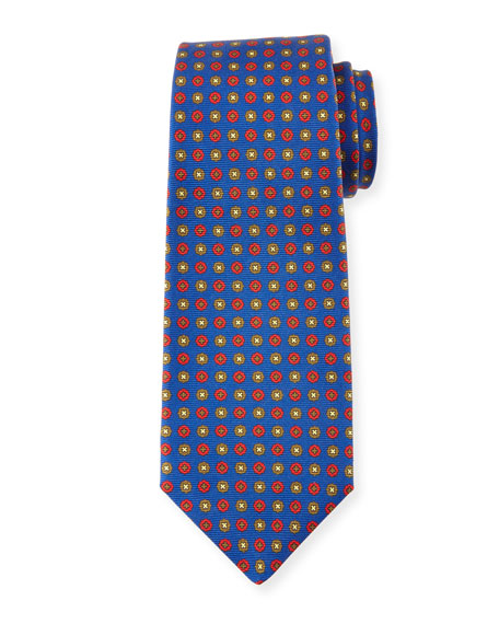 Neat Circle-Medallion Printed Silk Tie