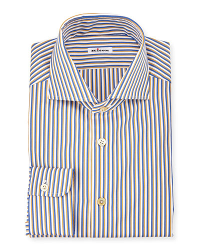 Striped Long-Sleeve Sport Shirt, Navy