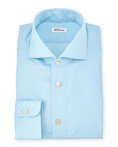 Basic Solid Poplin Dress Shirt, Aqua