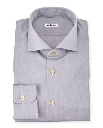 Basic Solid Poplin Dress Shirt, Gray