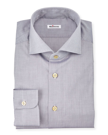 Solid Poplin Dress Shirt, Gray