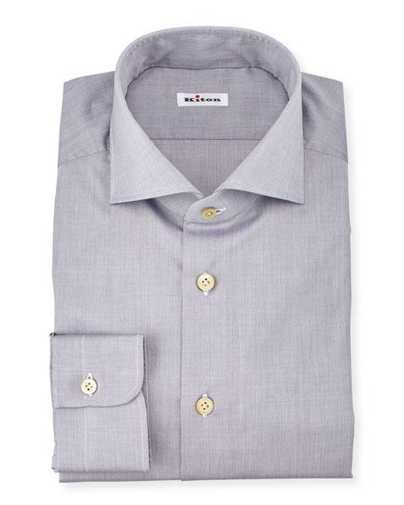 Kiton Solid Poplin Dress Shirt, Gray