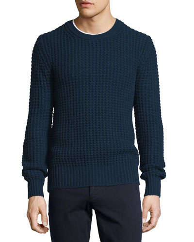 Chunky Wool/Cashmere-Blend Crewneck Sweater