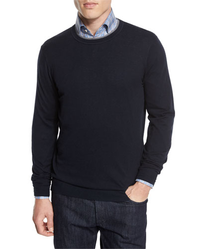 Contrast-Trim Crewneck Sweater, Navy/Gray