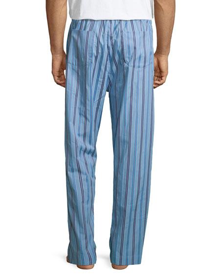 Derek Rose Mens Arctic 17 Blue Cotton Flannel Lounge Pant