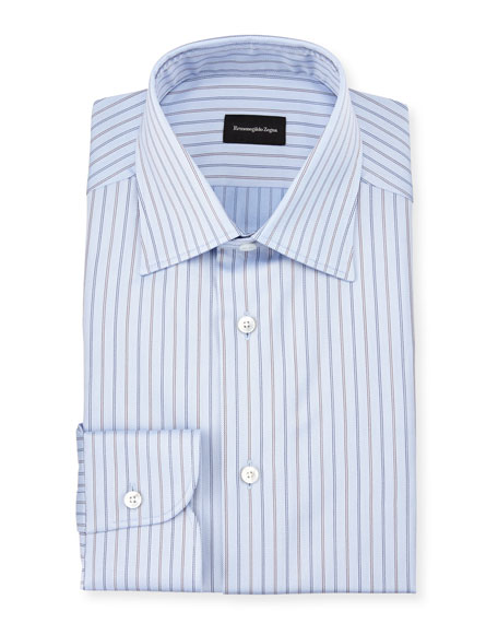 Ermenegildo Zegna Striped Twill Long-Sleeve Dress Shirt, Light