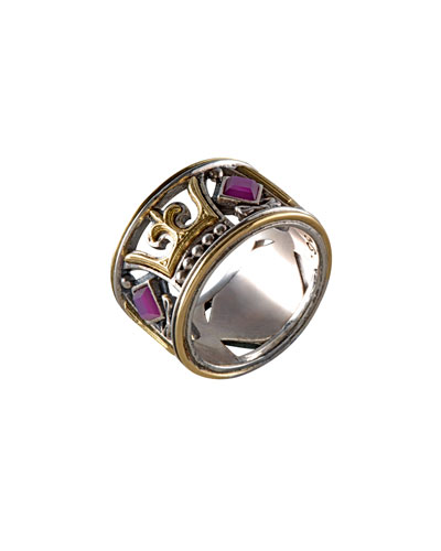 Ruby Root Fleur-de-Lis Band Ring