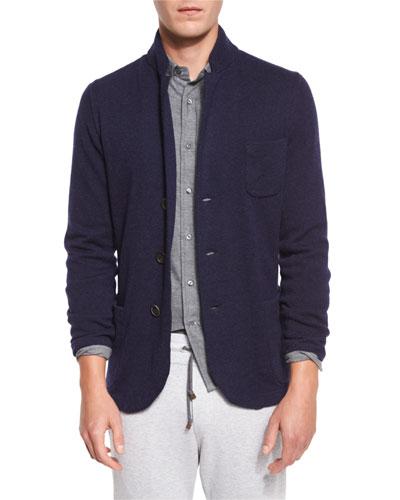 Cashmere Three-Button Knit Jacket, Blue