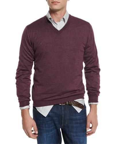 Fine-Gauge V-Neck Sweater, Wine