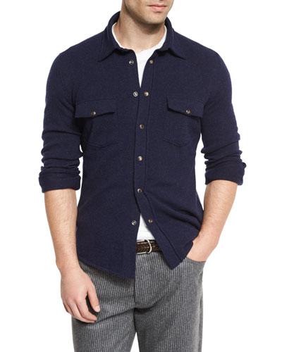 Western Knit Shirt Cardigan, Cobalt
