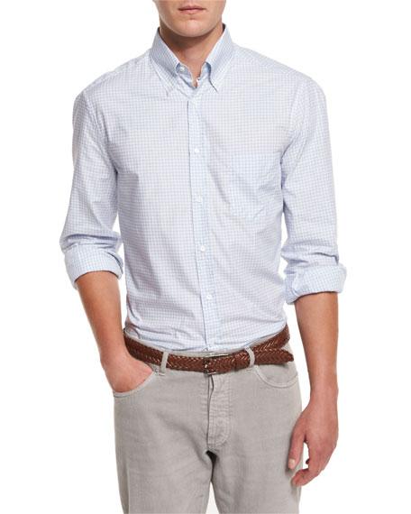 Brunello CucinelliTwill Check Long-Sleeve Sport Shirt, Light Blue