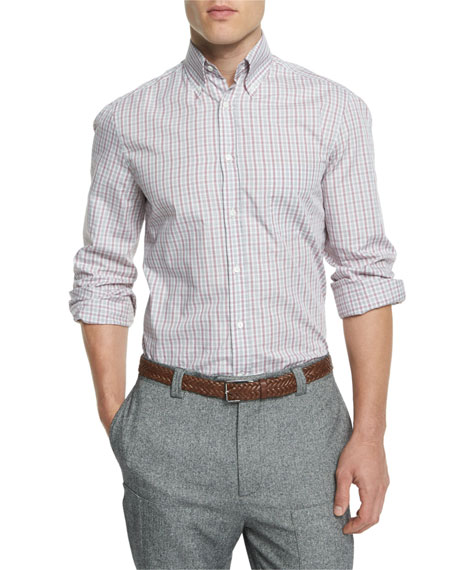 Brunello Cucinelli Bicolor Check Twill Long-Sleeve Sport Shirt,