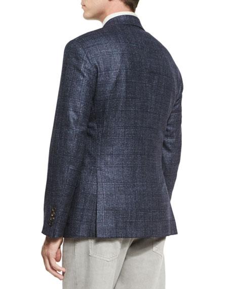 Plaid Wool/Silk/Cashmere Two-Button Sport Coat, Cobalt