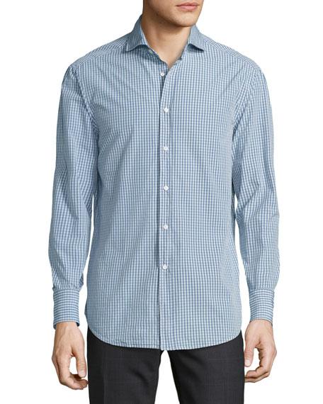 Brunello Cucinelli Check Woven Sport Shirt, Medium Blue