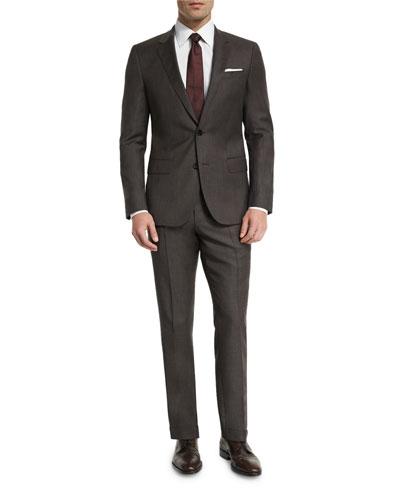Huge Genius Micro-Textured Slim-Fit Two-Piece Suit, Brown