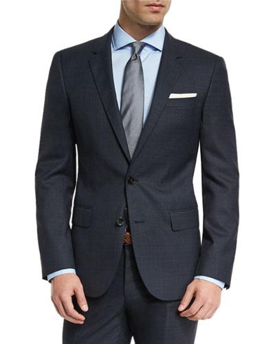 Huge Genius Melange Slim-Fit Two-Piece Suit, Navy