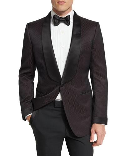 O'Connor Shawl Collar Dinner Jacket, Brown/Black