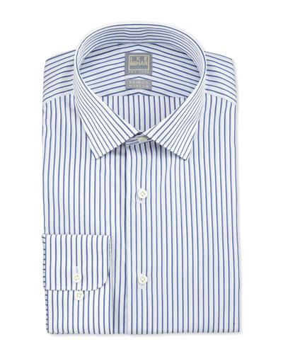 Textured Stripe Dress Shirt, Blue