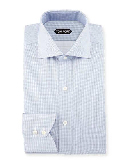 Tiny-Dot Stripe Slim-Fit Shirt, Blue