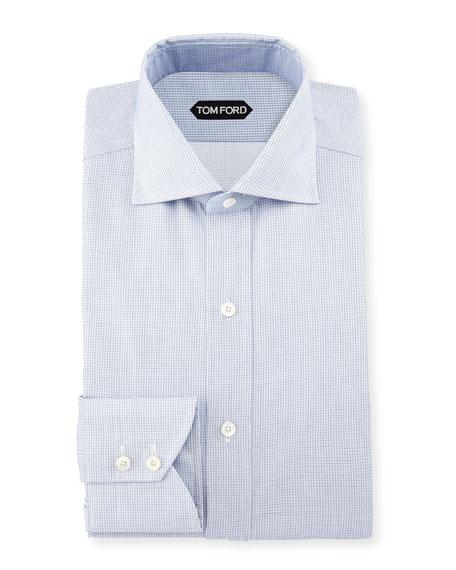 Tiny-Dot Stripe Slim-Fit Shirt, Blue