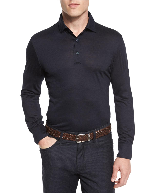 86c2e9ef High-Performance Merino Wool Long-Sleeve Polo Shirt, Navy
