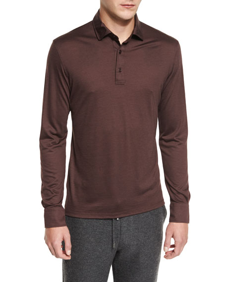 Ermenegildo Zegna High-Performance Wool Long-Sleeve Polo Shirt,