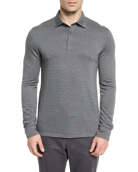 Ermenegildo Zegna Flannel Herringbone Long-Sleeve Polo Shirt,