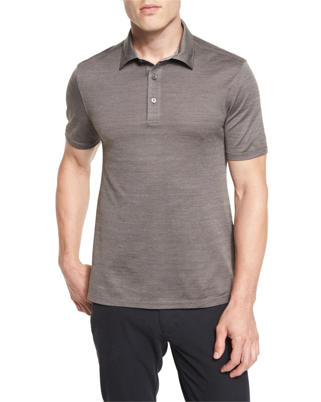 10fee89c Ermenegildo Zegna Herringbone Polo Shirt, Brown   Neiman Marcus