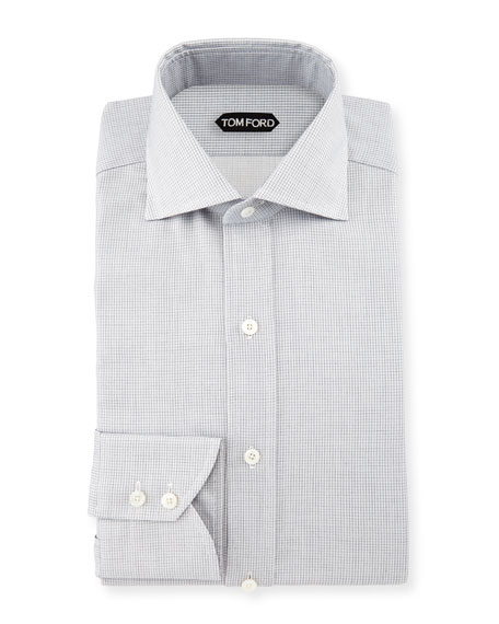 Tiny-Dot Stripe Slim-Fit Shirt, White/Black