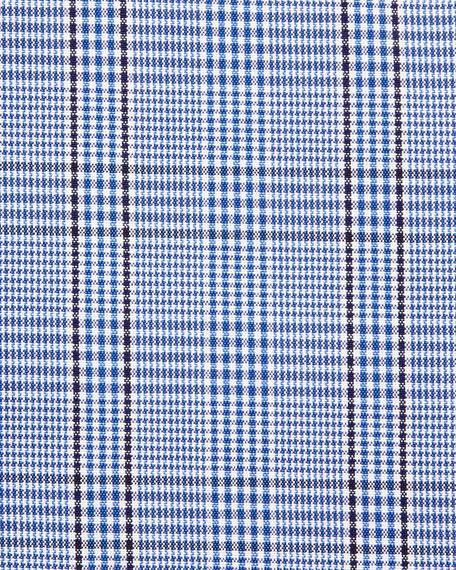 Bicolor Subtle Overcheck Slim-Fit Shirt, Blue