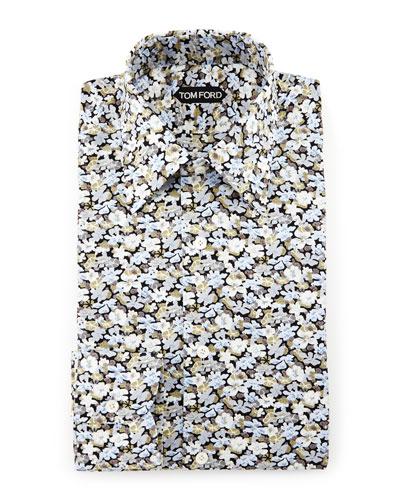 Hydrangea Prairie-Floral Slim-Fit Shirt, Blue