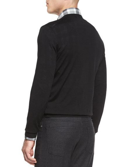 High-Performance Merino Wool V-Neck Sweater, Black