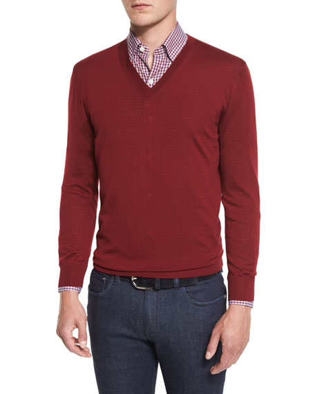Ermenegildo Zegna High-Performance Merino Wool V-Neck Sweater,