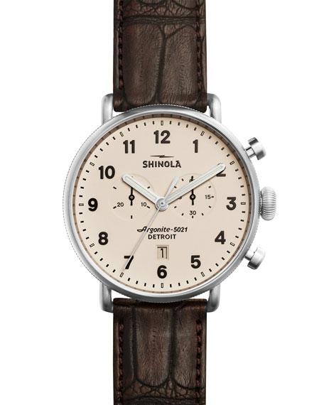 Shinola 43mm Canfield Chronograph Alligator Watch, Red