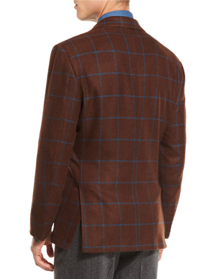Windowpane Cashmere Two-Button Sport Coat, Tobacco