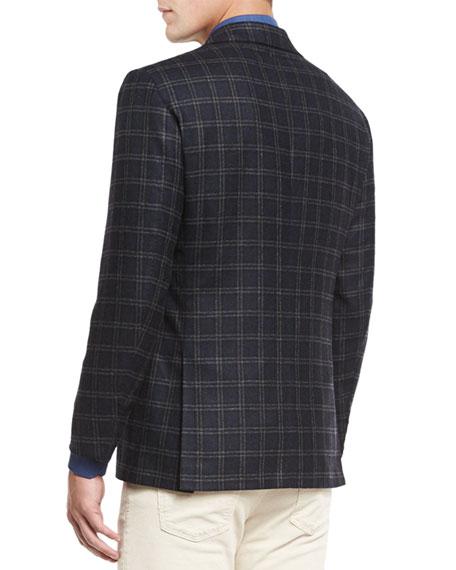 Plaid Three-Button Sport Coat, Dark Charcoal