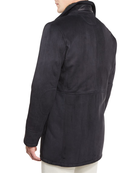 Lambskin Leather Coat w/Contrast Shearling Lining