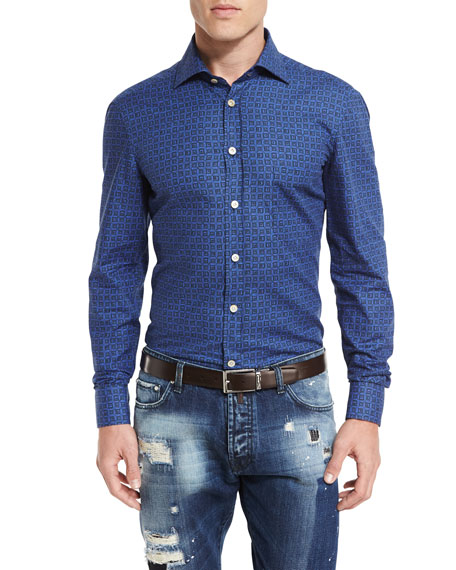 Kiton Medallion-Print Woven Shirt, Blue