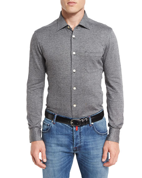 Kiton Pin-Dot Knit Shirt, Gray