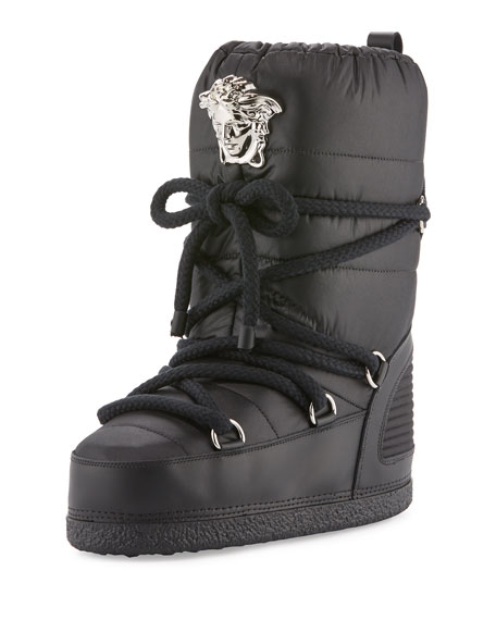 Versace Medusa Quilted Astronaut Boot, Black