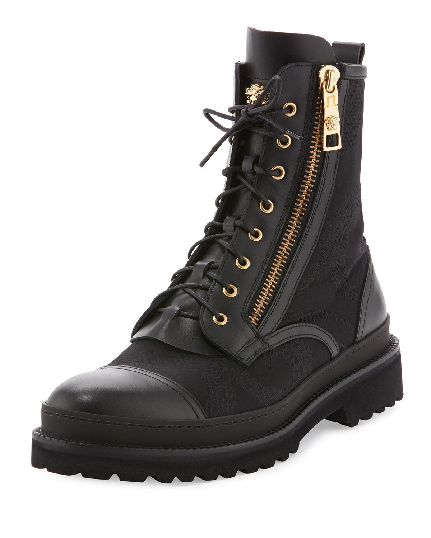 76983792732 Versace Small Medusa Leather   Jacquard Combat Boot