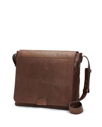 Chris Calf Leather Messenger Bag, Chocolate