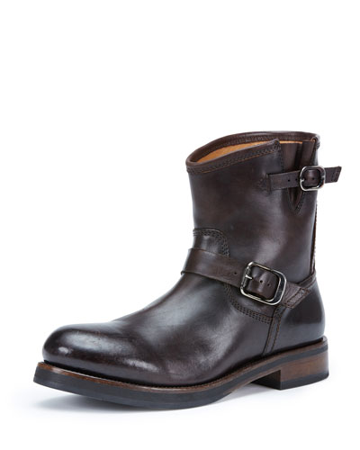 Carter Leather Short Engineer Boot, Dark Brown