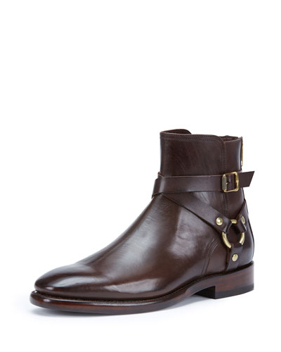 Men's Weston Leather Harness Boot, Dark Brown